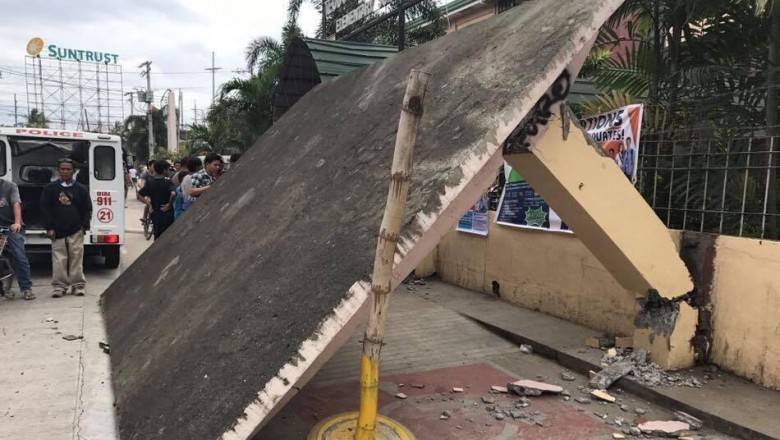Davao quake topples waiting shed, injures 2