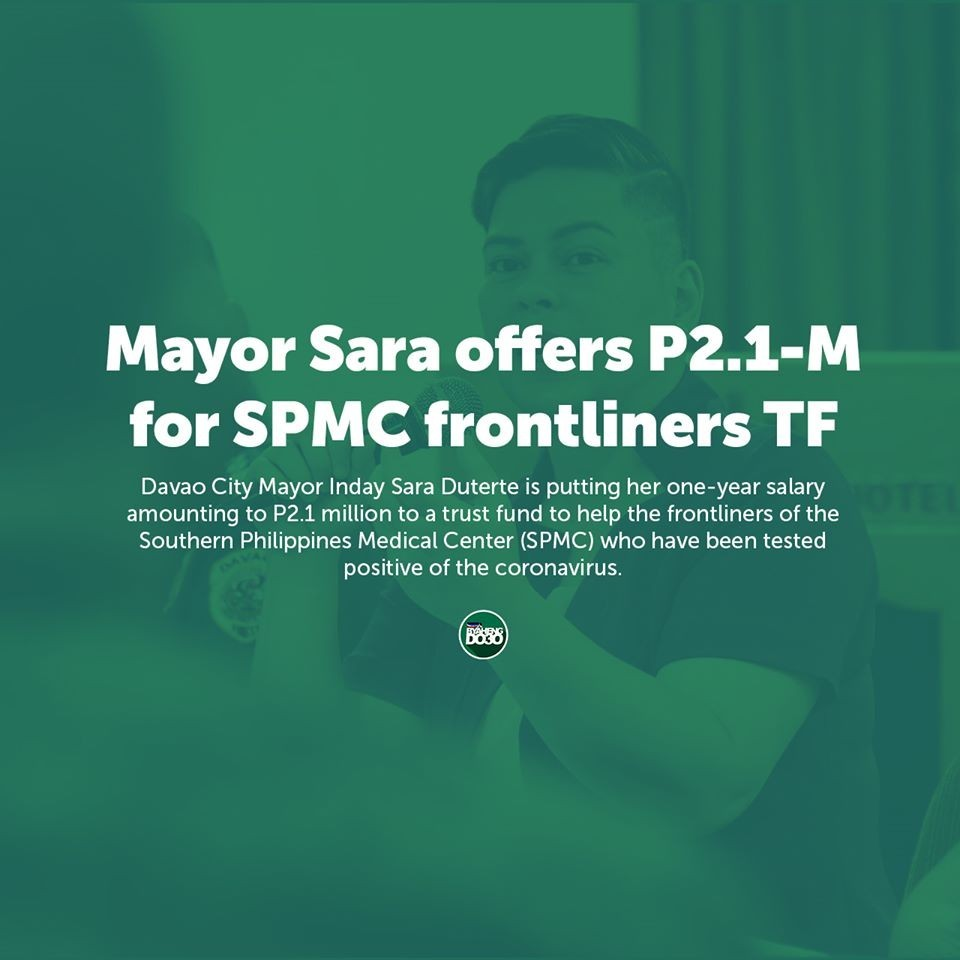 COVID-19, Health Mayor Sara offers P2.1-M for SPMC frontliners TF